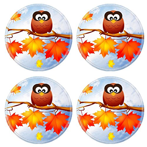 Liili Round Coasters Non-Slip Natural Rubber Desk Pads owl on branches in autumn Image ID 23334267 ()