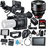 Canon EOS C200 EF Cinema Camera #2215C002 (International Model) + Canon CN-E 135mm T2.2 L F Cinema Prime Lens (EF Mount) + 256GB SDXC Card + Professional 160 LED Video Light Studio Series Bundle