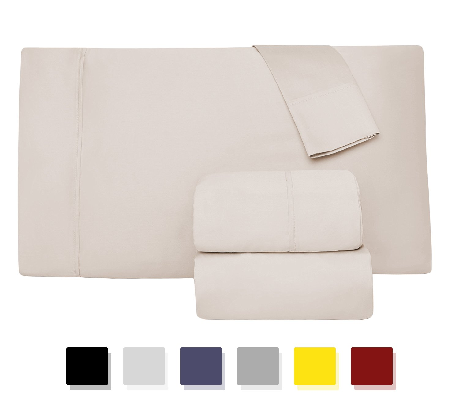 Comfy Sheets Luxury 100% Egyptian Cotton - Genuine 1000 Thread Count 4 Piece Sheet Set-Fits Mattress Up to 18'' Deep Pocket (California King, Cream)