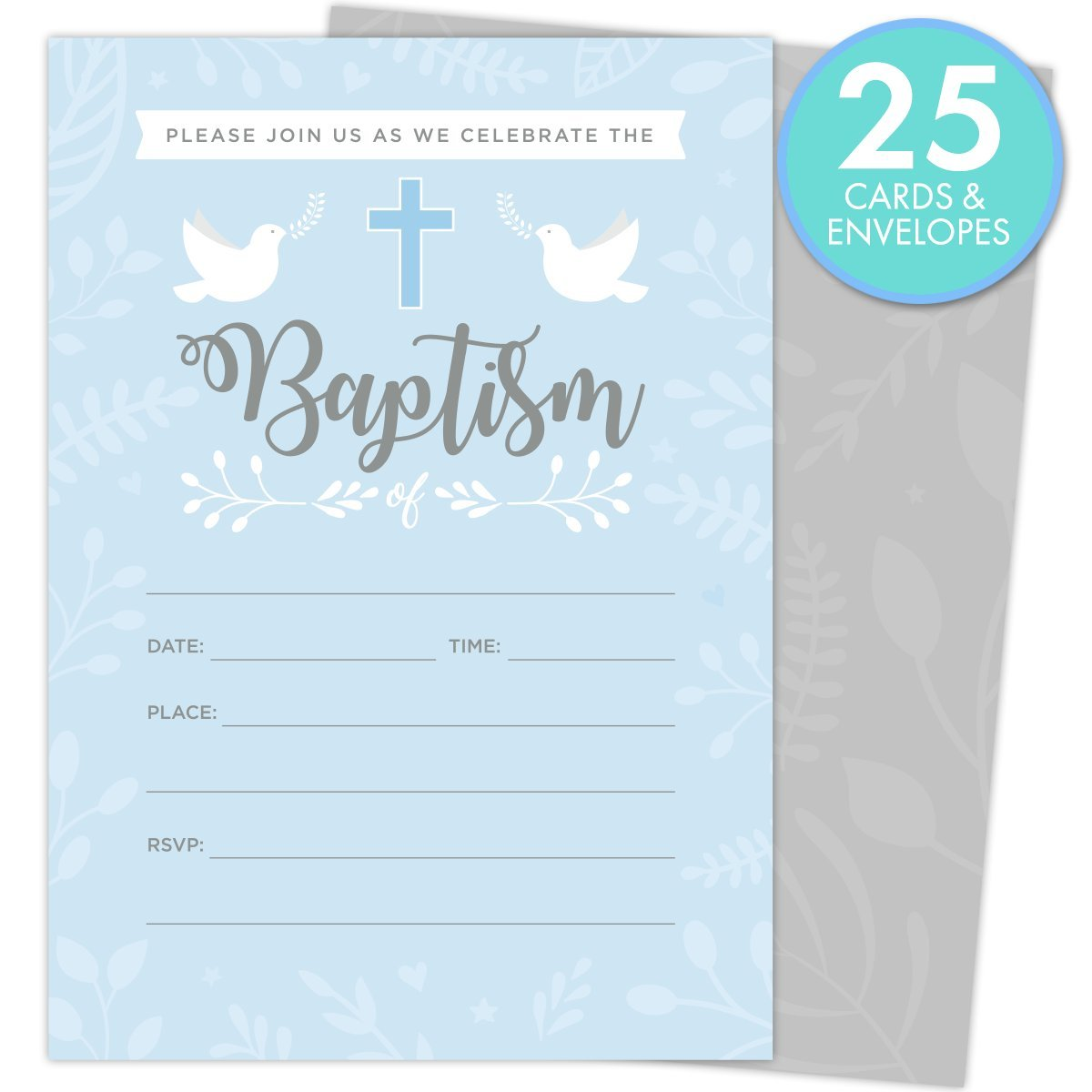 Baptism Invitations for Baby Boys, 25 Fill In The Blank Style Cards and Envelopes. by Koko Paper Co (Image #2)