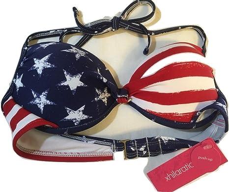 Xhilaration Womens American Flag Push Up Halter Bikini Top