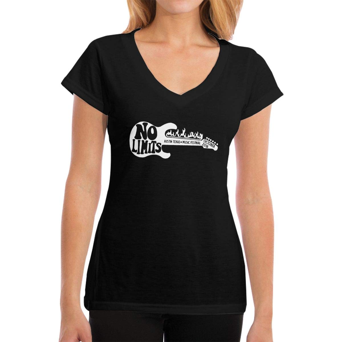 Austin ACL Music Festival-1 Cotton Lady V-Neck Short-Sleeved T Shirts Tee Newest Help Shirt Black