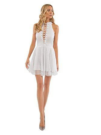 0a34b5bd7436 SENTIMENTAL NEW YORK Open Mesh Lace-Up Skater Dress at Amazon ...
