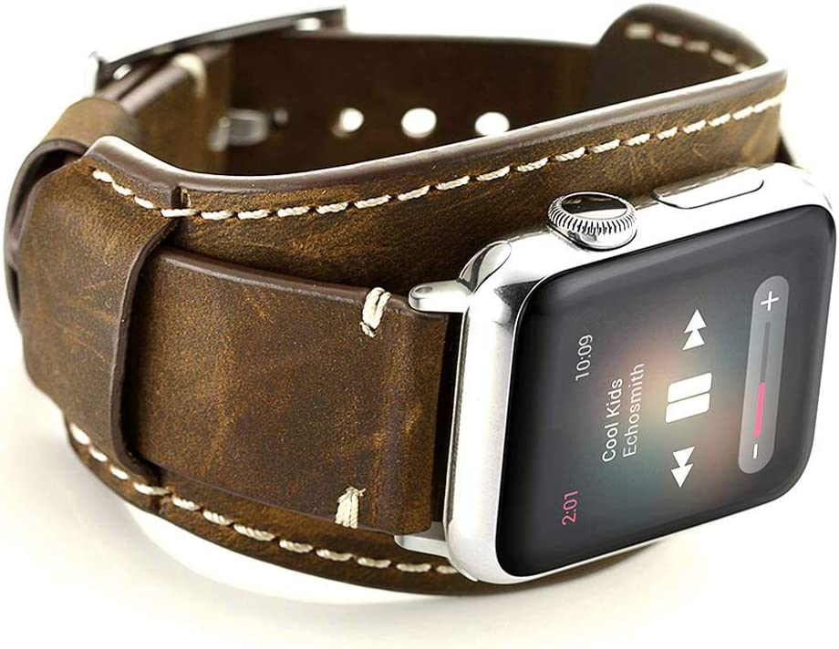 Leotop Compatible with Apple Watch Band 44mm 42mm Men Women Genuine Leather Compatible iwatch Bracelet Wrist Strap Compatible Apple Watch Series 6/5/4/3/2/1 SE (Crazy Horse Cuff Coffee, 44/42mm)