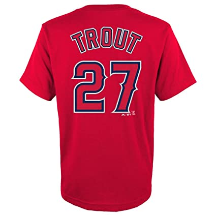 Amazon.com   Mike Trout Los Angeles Angels Red Youth Jersey Name and Number  T-shirt   Sports   Outdoors 1895324b9