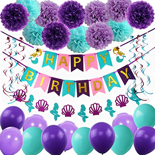 THAWAY Mermaid Party Supplies Birthday Decorations, Happy Birthday Banners, Pom Poms Flowers, Hanging Swirl, Balloons for Girl's Birthday Party and Baby Shower Party Decorations -