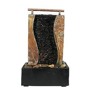 Sunnydaze Bending Slate Tabletop Fountain with LED Light, 17 Inch