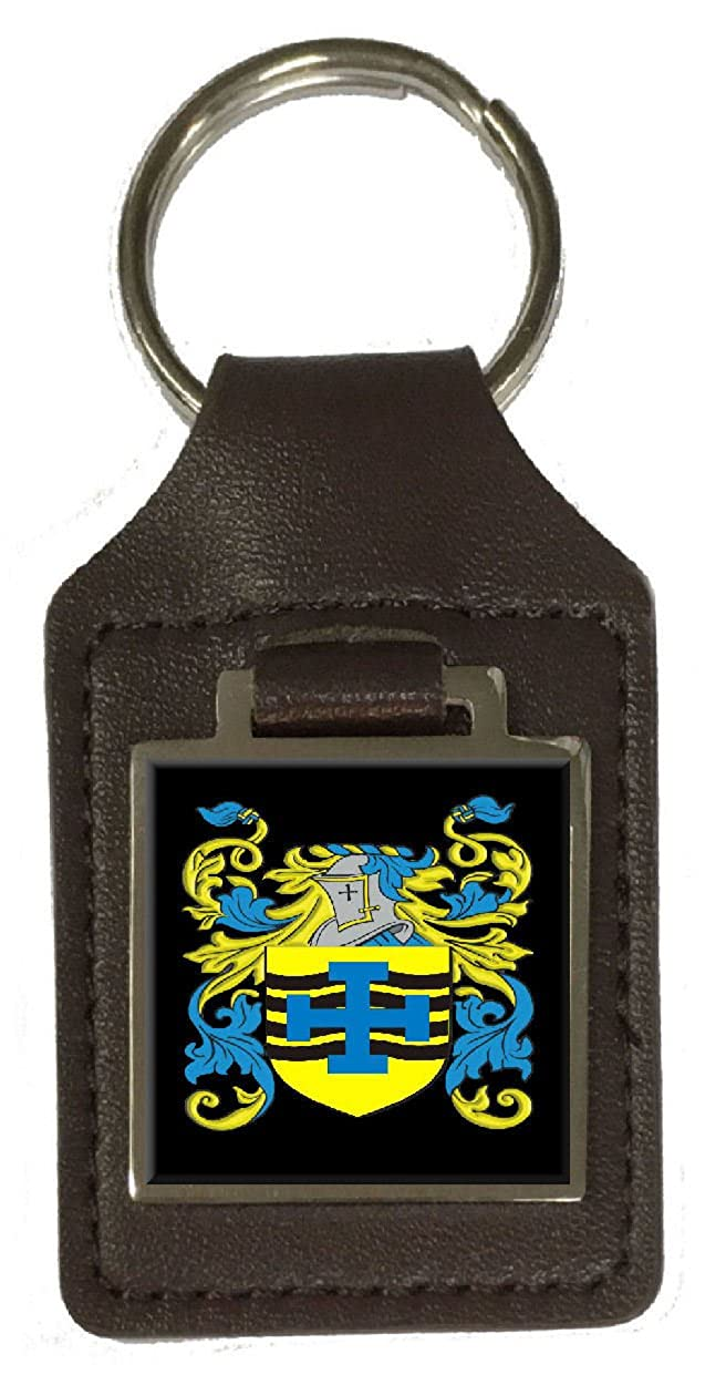 Mcpartland Family Crest Surname Coat Of Arms Brown Leather Keyring Engraved