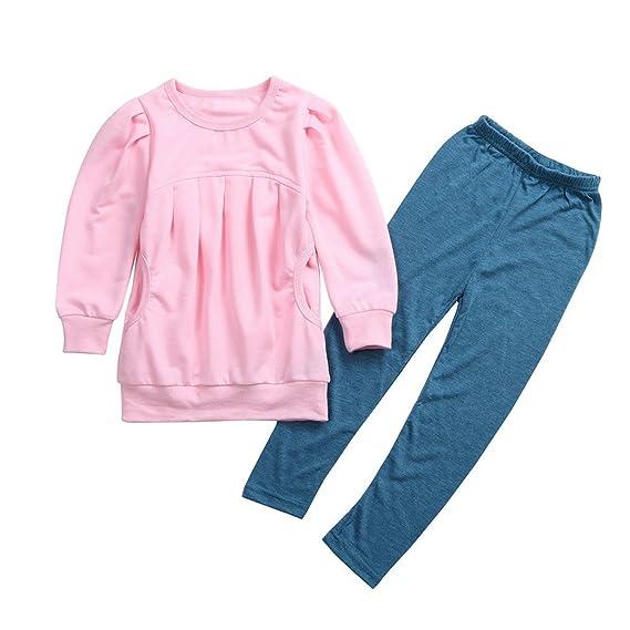 Hoplsen 2 PC Conjunto Niño Niña Camiseta + Pantalón largo Sudadera Jersey Arriba Caliente Manga larga