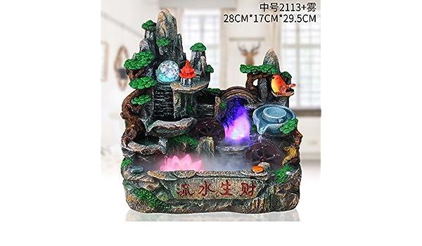 Rocalla fuente de agua Feng Shui suerte Regalo acuario bonsái apertura de Round Pond adornos Inauguración sala oficina,Medium 2113 banda nebulizador: ...