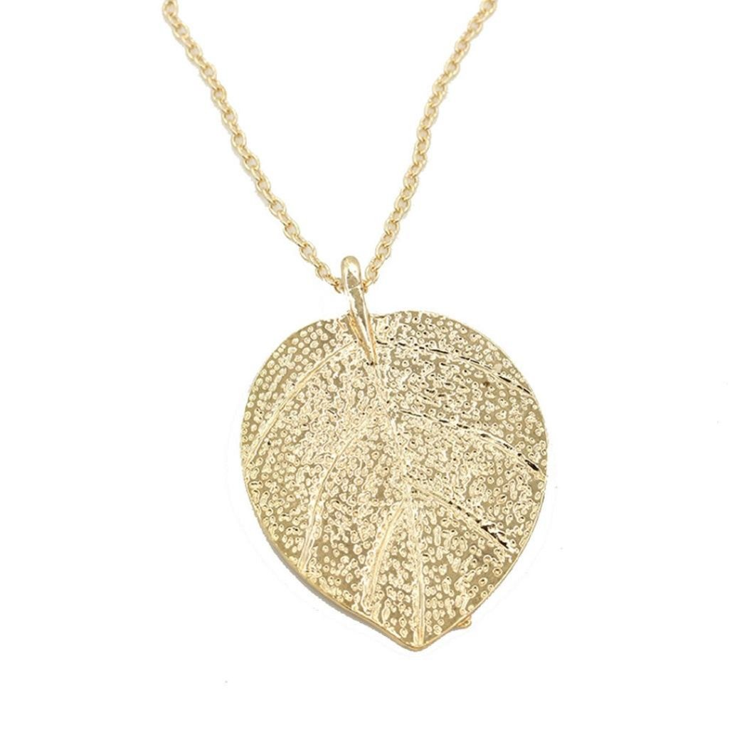 Kinrui Fashion Womens Charm Golden Leaf Pendant Necklace Long Sweater Chain Jewelry (Golden)