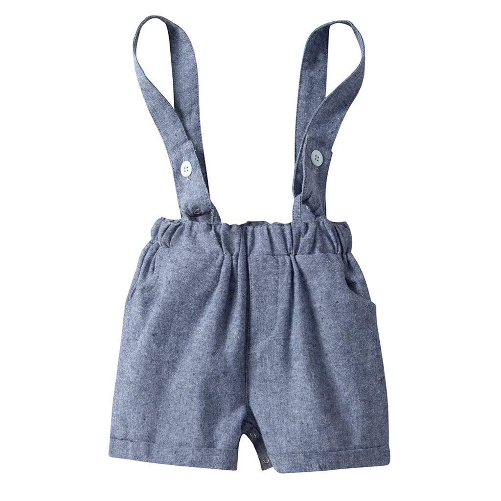Fabal Toddler Baby Boys Gentleman Stripe Bow Tops T-Shirt Solid Short Pants Outfits