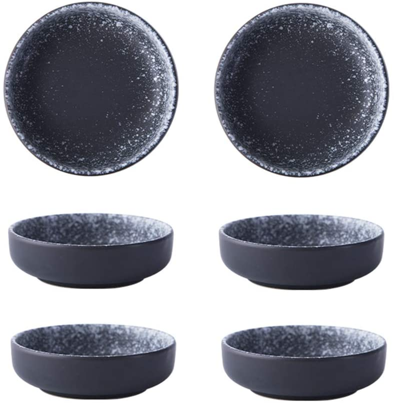3.5 Inch Japanese Style Classic Porcelain Side Dish Bowl Seasoning Dishes Soy Dipping Sauce Dishes-Set of 6-Black&White