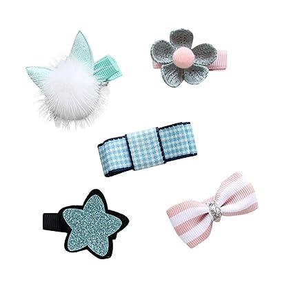 Clips de pelo Bebé , ❤️Amlaiworld 5Pcs Infantil Bebé Niña Bow Flower Barrettes Pinza de