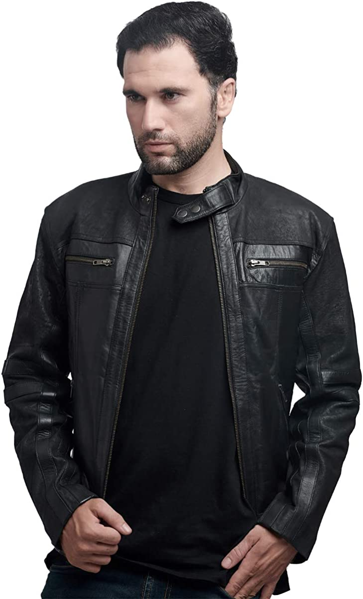 Mens Fashion Genuine Lambskin Leather Biker Style Motorcycle Jacket XS - 4XL