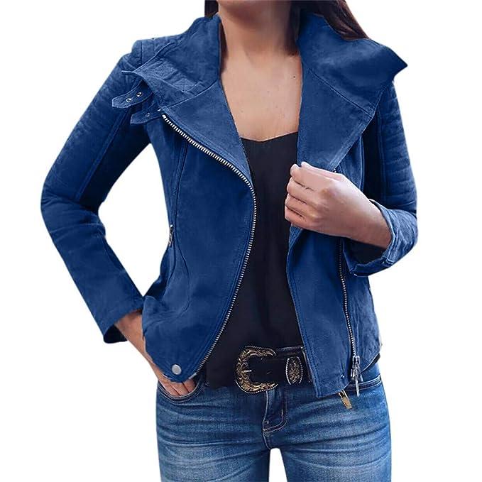 POLP Abrigos mujer Abrigo de Invierno de Mujer Mujeres Ladies Retro Rivet Zipper Up Bomber Jacket Casual Outwear Ropa de Abrigo con Cremallera: Amazon.es: ...
