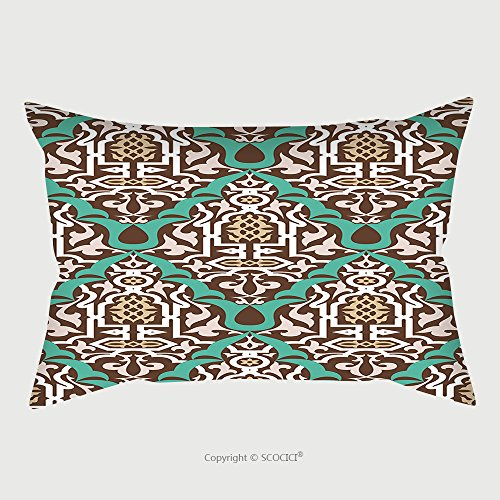 Custom Satin Pillowcase Protector Arabic Floral Seamless Pattern Traditional Arabic Islamic Background Mosque Decoration Element 445450717 Pillow Case Covers Decorative by chaoran