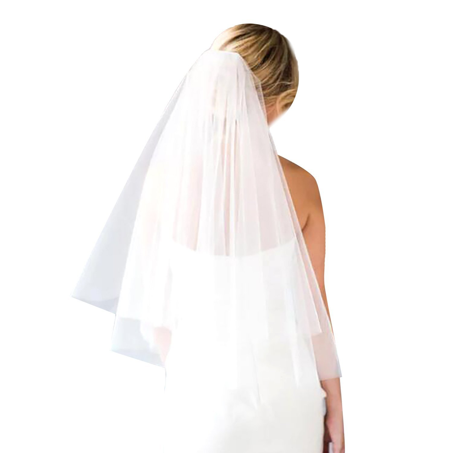 2 Tier Wedding Veil with Comb White Ivory Short Cut Edge Elbow Length (Ivory)