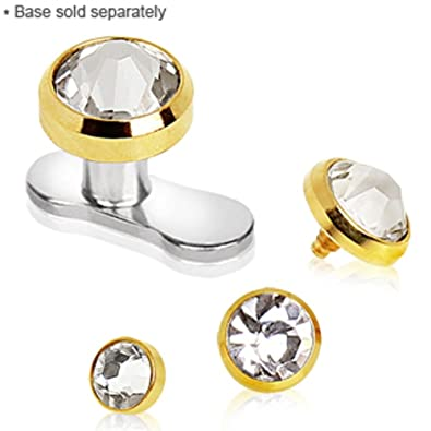 Amazoncom Gold Plated Dermal Top with Clear Cubic Zirconia Jewelry