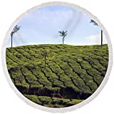 Pixels Round Beach Towel With Tassels featuring ''Tea Planation In Kerala - India'' by Joana Kruse
