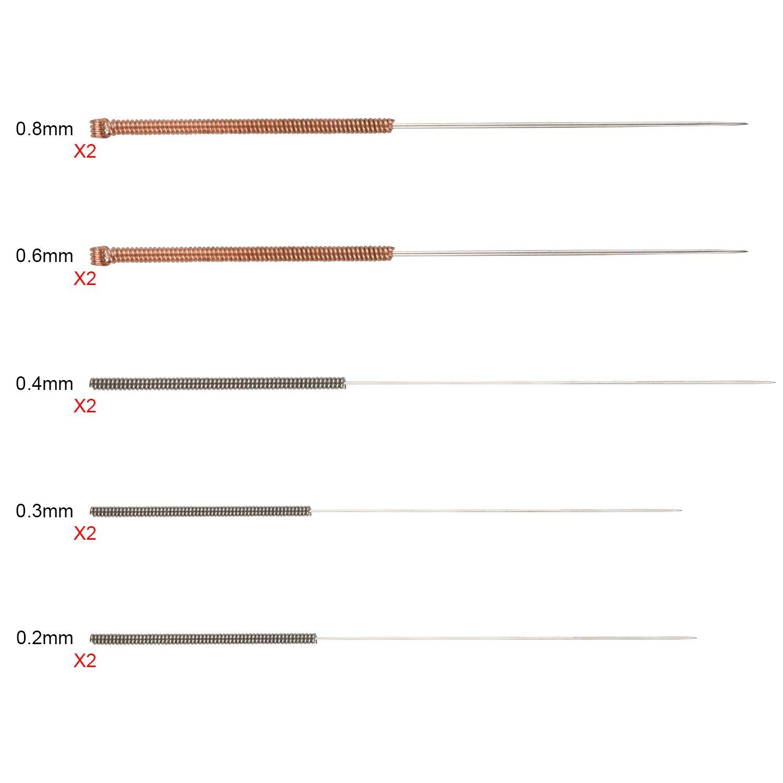 Tailles Vari/ées EAONE 24 pi/èces M6 Imprimante 3D Buses T/ête Dimpression en Laiton Exruder avec 10pcs Aiguilles de Nettoyage pour MK8 Makerbot 0,2 mm,0,3 mm, 0,4 mm, 0,5 mm, 0,6 mm, 0,8 mm, 1,0 mm