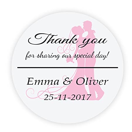 Ekunstreet 48x personalised 40mm pink wedding favour stickersfavour thank