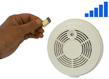 SMS teléfono Independiente Detector de humo alarma de incendios con tarjeta SIM. activo llamadas/