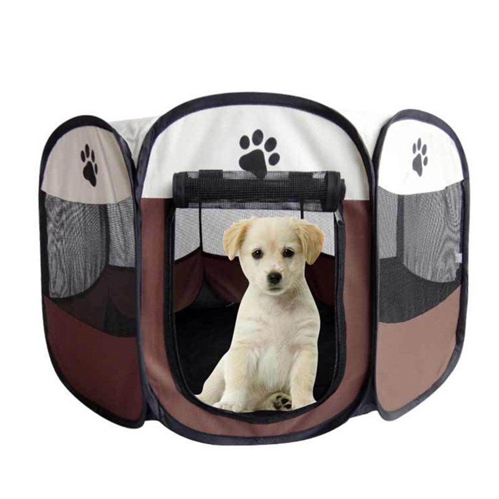 Coffee L coffee L Binglinghua® Pet Tent Folding Fence Playpen Kennel Puppy Dog Cage Exercise Soft Crate (L, Coffee)