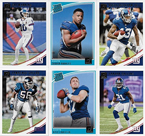 New York Giants 2018 Donruss NFL Football Complete Mint 12 Card Team Set with Eli Manning, Odell Beckham Jr, Lawrence Taylor, Rated Rookie Cards of Saquon Barkley and Kyle Lauletta plus