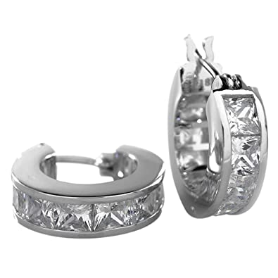 59e156b98e3 18K White Gold Plated Silver ICED OUT Princess Cut Channel Set Huggie Hoop  Earring