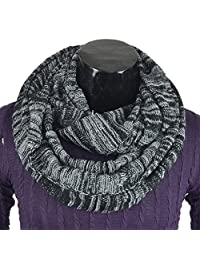 Men's Infinity Scarf Retro Knit Soft Warm Thick Neck Gaiter Winter Scarves CFE5001b-B (LGrey&Black)