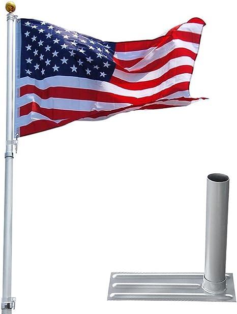 AUNMAS Soporte de Poste de Bandera de 2 /ángulos Montaje de aleaci/ón de Aluminio Montaje en Pared Soporte de asta de Viento de asta de Bandera Blanco