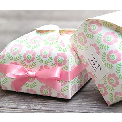 2 Pcs Exquisite Pink Flowers Creative Wedding Candy Paper Box Buckle Gift Boxs For