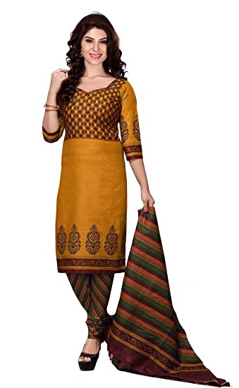 9b4dcd21ec8 Suchi Fashion Occur Yellow Printed Daily Wear Cotton Suit Dress Material   Amazon.in  Clothing   Accessories