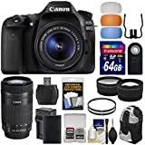 Canon EOS 80D Wi-Fi Digital SLR Camera & EF-S 18-55mm IS STM with 55-250mm IS STM Lens + 64GB Card + Battery + Backpack + Tele/Wide Lens Kit