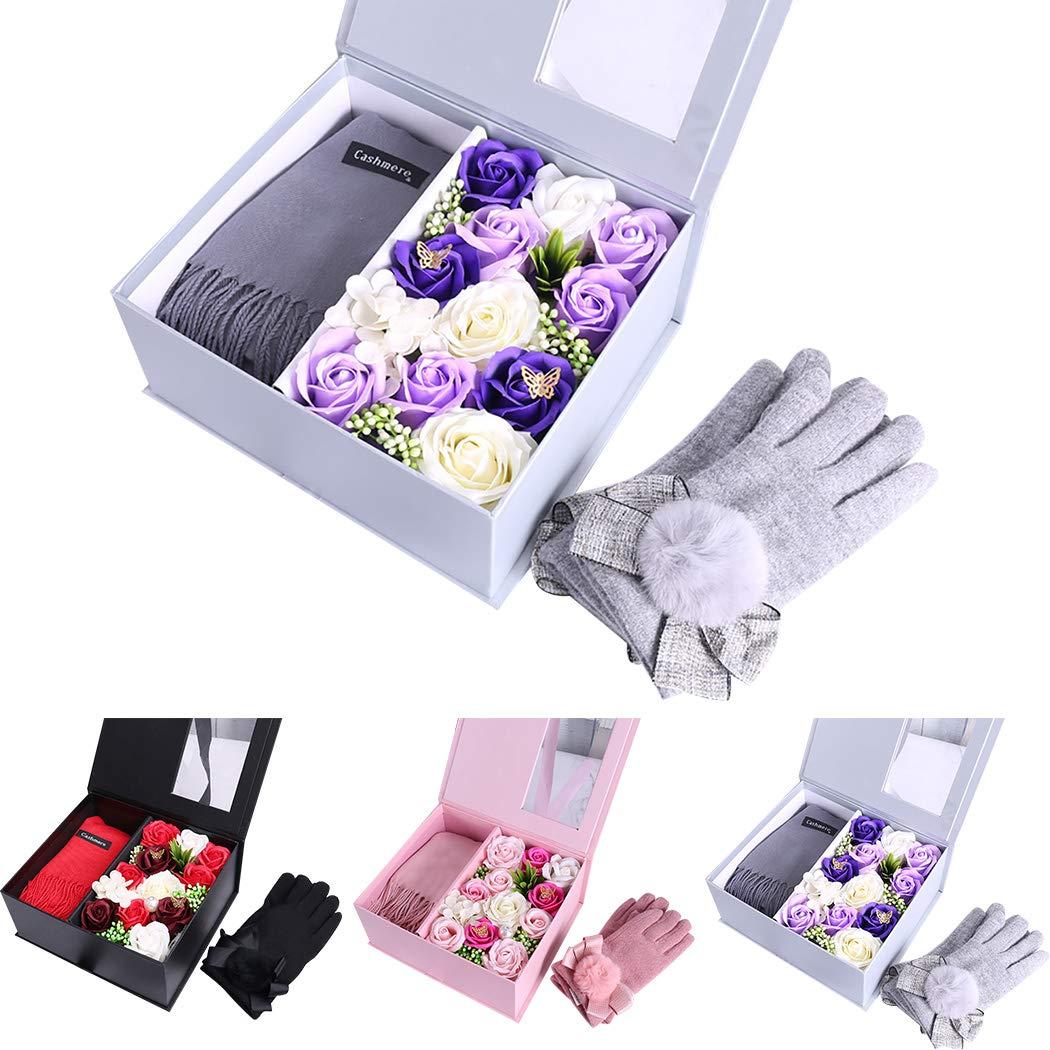 Coxeer ソープ バラの花 バレンタイン ローズ レディース スカーフ タッセル 冬 スカーフ 手袋付き 石鹸 花 バレンタインデー グレー W30OG2KT6588J11S1 B07L1HQW36 グレー