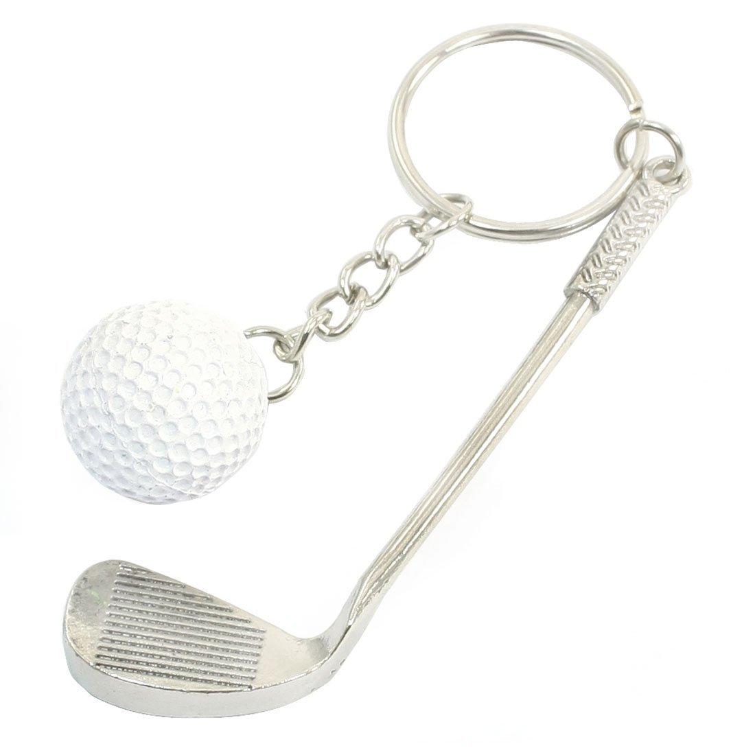 SODIAL(R) White Round Ball Golf Stick Decor Split Ring Keychain Silver Tone