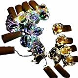POPPAP Cork Lights For Wine Bottles,15LED Starry String Spark DIY Night Decorative Table Lamp With Empty Glass Liquor Beer Shape Bottle For Club Kitchen Party Colorful&Warm 12PACK