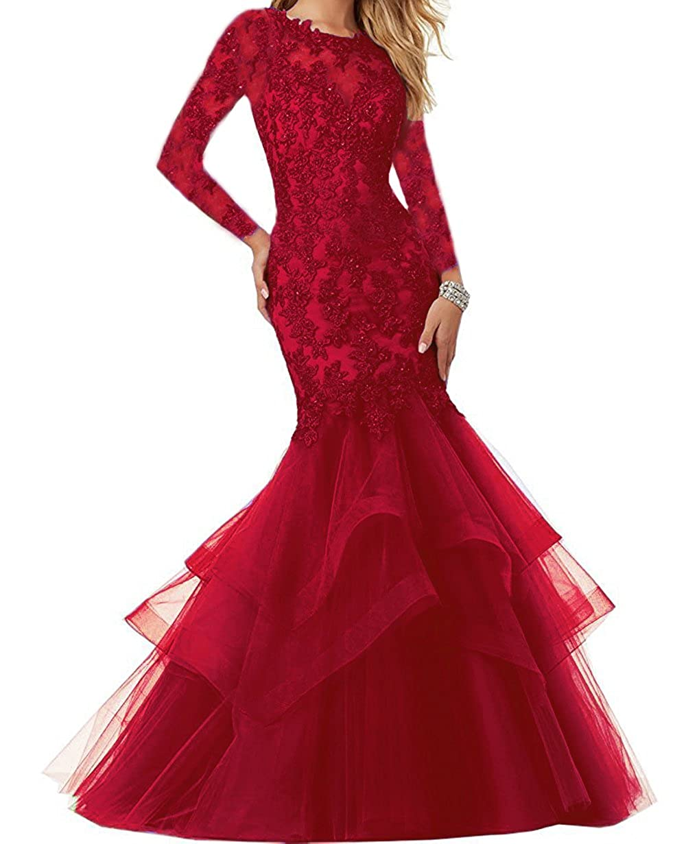 Light Burgundy Ellenhouse Women's Long Sleeve Mermaid Applique Prom Party Evening Dresses EL339