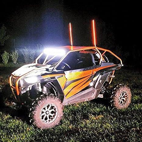 PAIR 2FT RED LED LIGHT WHIP ATV UTV SXS FX Whips