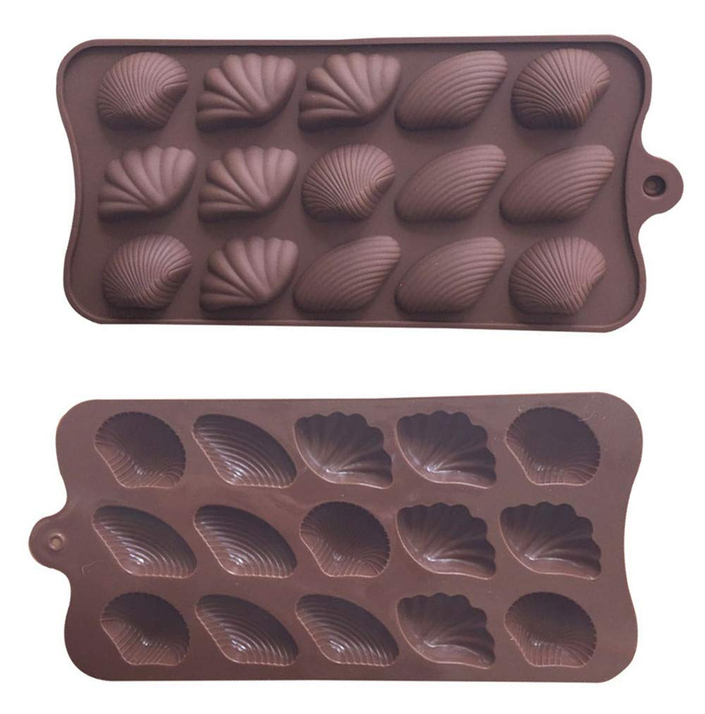 2Pack 15-Cavity Sea Shell Chocolate Candy Fondant Mold By Garloy, The Conch Mold for Homemade Chocolate Candy Gummy Jelly