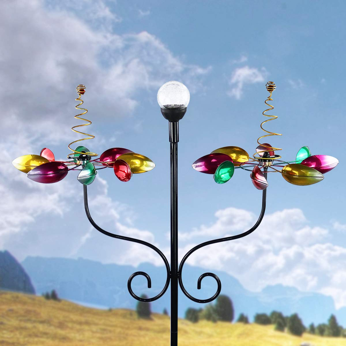 Solar Wind Spinner 3d Kinetic Wind Spinners Outdoor Metal Gardening Decorations With Multi Color Led Lighting By Solar Powered Glass Ball With Lawn Ornament Wind Mills Wind Sculptures Spinners Patio Lawn