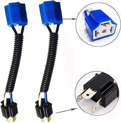 9003 H4 Heavy Duty Ceramic Plug Wiring Harness Socket for Headlights//Fog Lights
