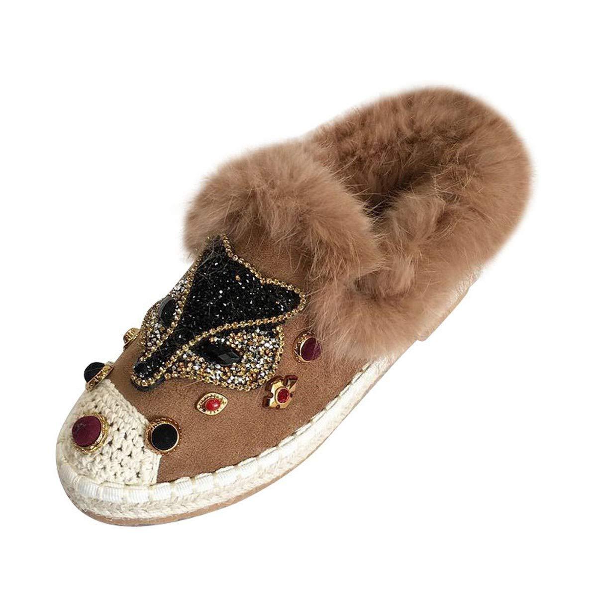 HBDLH Damenschuhe/Flache Sohle Schuhe Herbst Und Winter Baitie Faul Schuhe Flachen Sohle Schuhe Müller - Schuhe Hanf Seil Fischer Schuhe Frauen