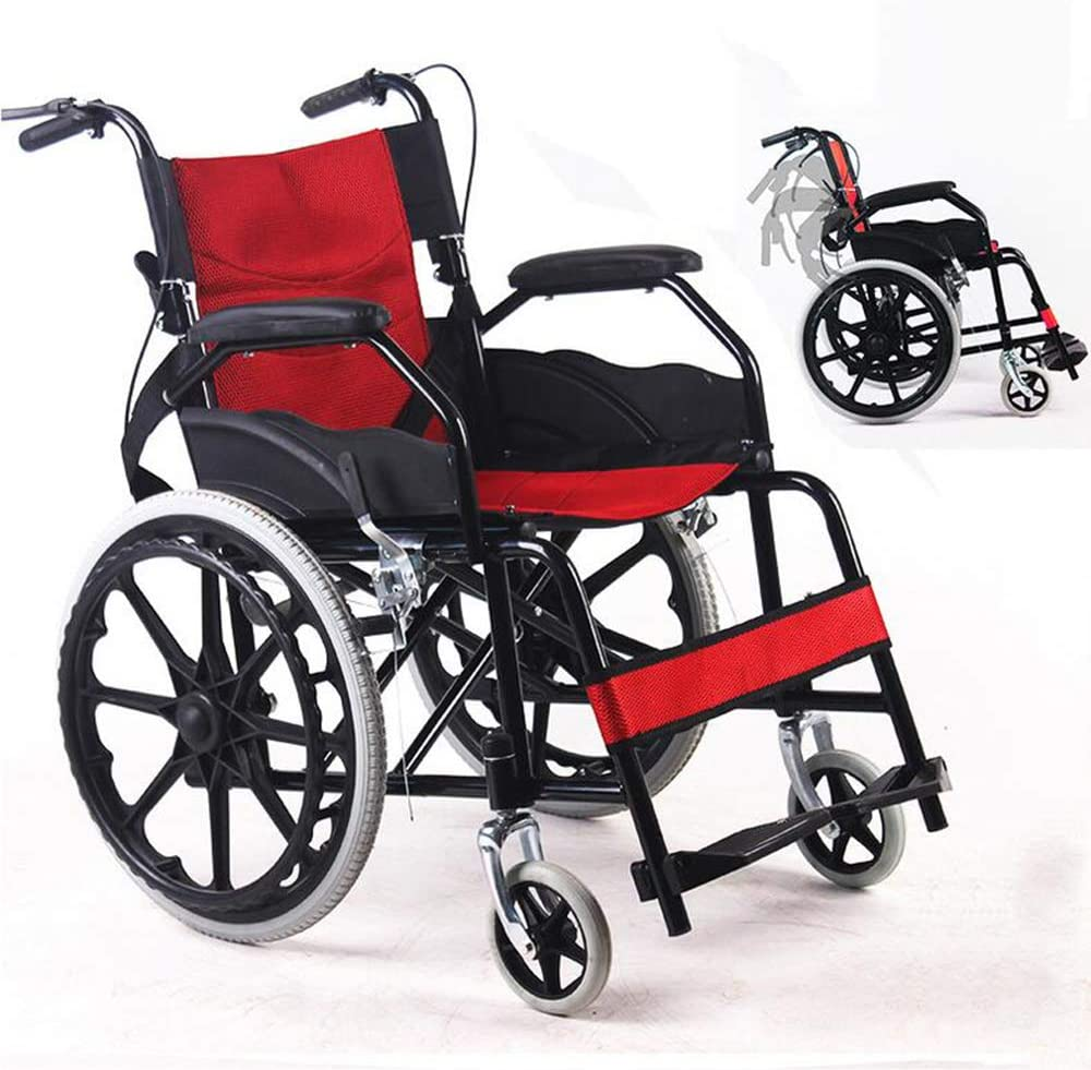 SHOWGG Plegable Silla de Ruedas Silla portátil de Transporte ergonómica Adaptada para minusválidos de Edad Avanzada con Silla de Ruedas Plegable transportable Walker Fácil de Asistencia,Rojo
