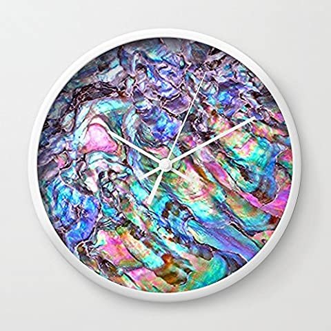 Society6 Shimmery Rainbow Abalone Mother Of Pearl Wall Clock White Frame, White Hands - Mother Of Pearl Wall Art