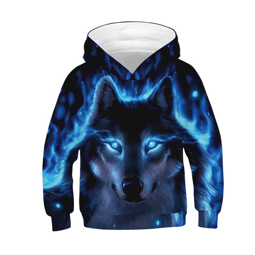 WARMSHOP Teen Kids Girl Boy Galaxy Fleece 3D Wolf Print Cartoon Sweatshirt Pocket Pullover Hoodie 4-13T