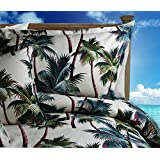 Palm Tree Duvet Cover Set - Bark Kahala Queen Size Palm Tree Duvet Cover with Two Standard Palm Tree Shams