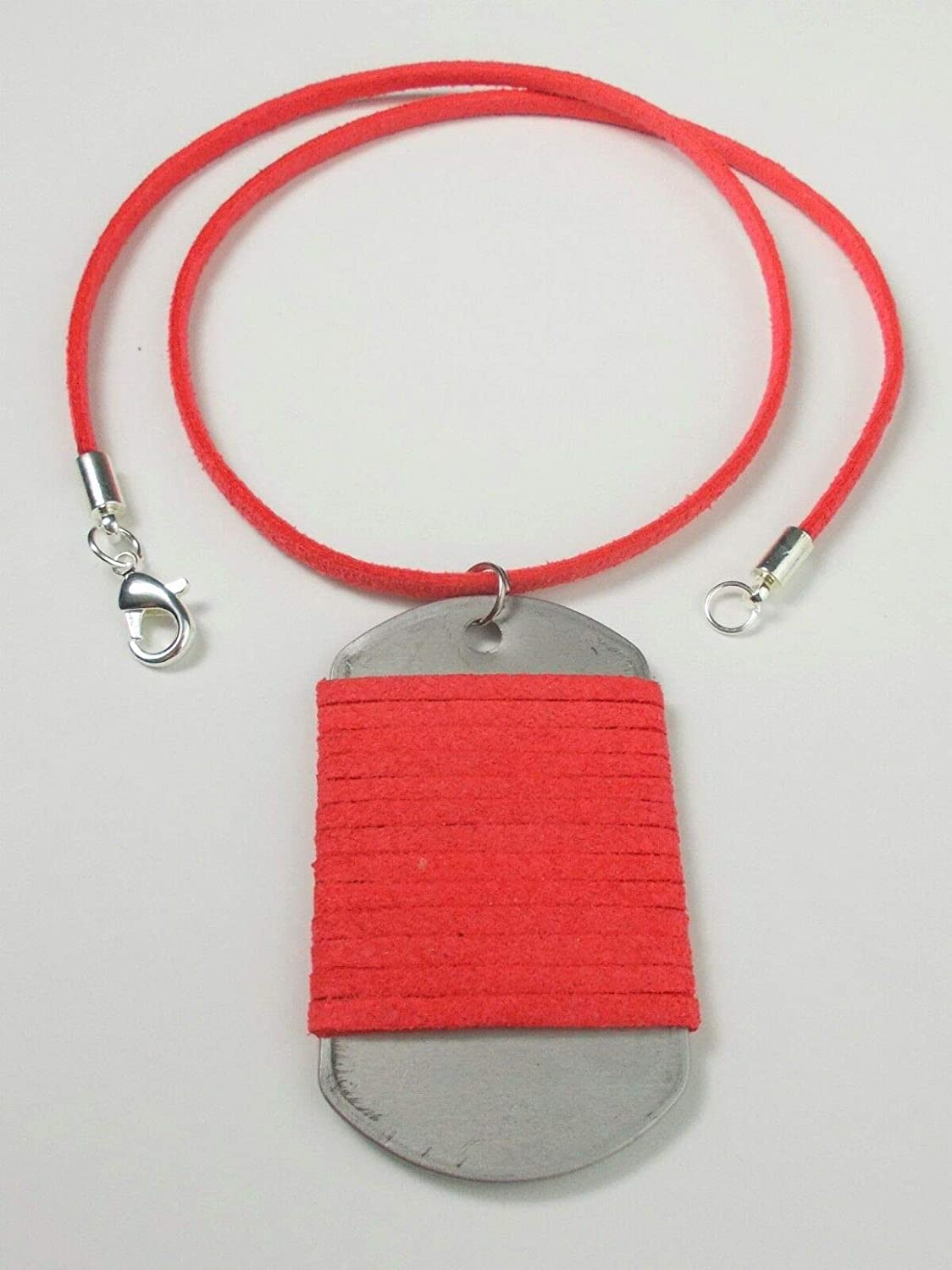 Army Military Dog Tag Mens Suede Leather Pendant Necklace Lobster Clasp Unisex Length 34