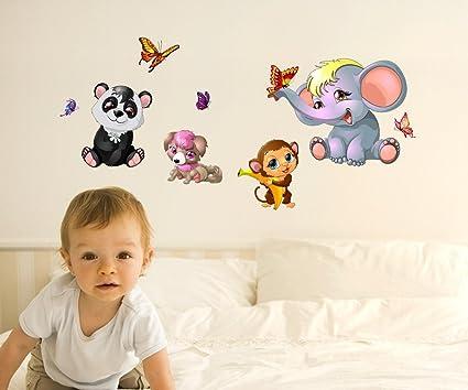 Decals Design Animals Cute Side including Butterflies Monkey Elephant Wall Sticker (PVC Vinyl, 50 cm x 70 cm x 1 cm),Multicolour